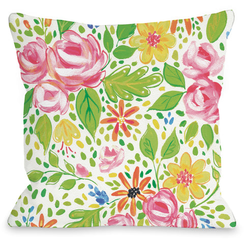 """Phoebe Flowers"" Indoor Throw Pillow by April Heather Art, 16""x16"""