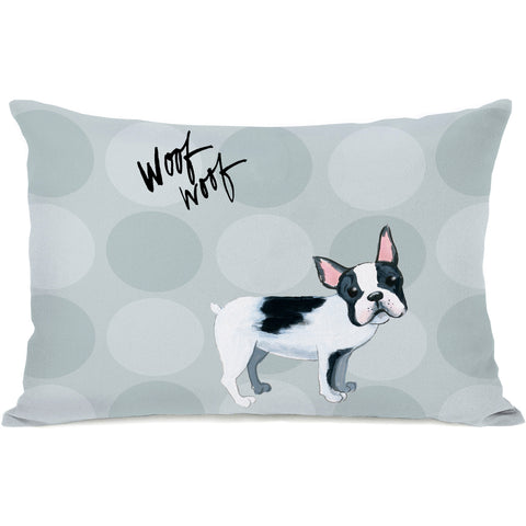 """Pup Words French Bulldog"" Indoor Throw Pillow by April Heather Art, 14""x20"""