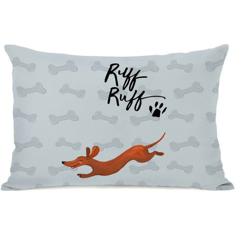 """Ruff Ruff Doggie"" Indoor Throw Pillow by April Heather Art, 14""x20"""