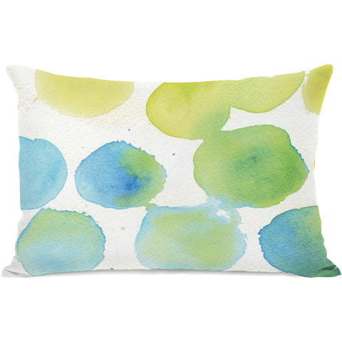 """Watercolor Polkadots"" Outdoor Throw Pillow by April Heather Art, 14""x20"""