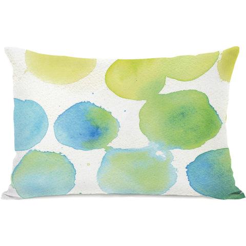 """Watercolor Polkadots"" Indoor Throw Pillow by April Heather Art, 14""x20"""