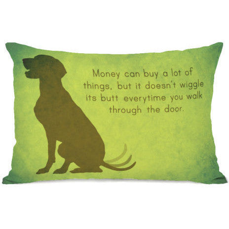 """Butt Wiggle"" Outdoor Throw Pillow by OneBellaCasa, 14""x20"""