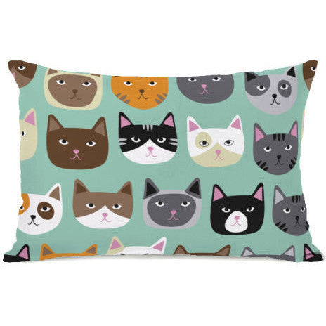 """Cat Smiles"" Outdoor Throw Pillow by OneBellaCasa, 14""x20"""