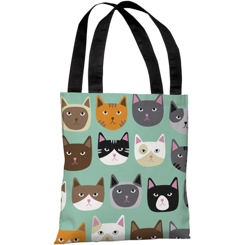 """Cat Smiles"" 18""x18"" Tote Bag by OneBellaCasa"