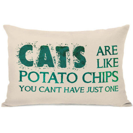 """Cats Are Like Potato Chips"" Outdoor Throw Pillow by OneBellaCasa, 14""x20"""