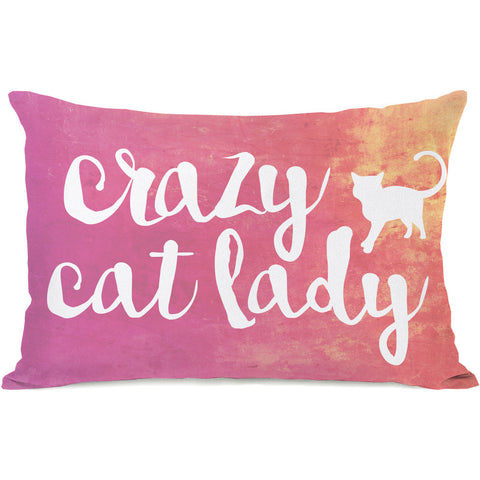 """Crazy Cat Lady"" Indoor Throw Pillow by OneBellaCasa, 14""x20"""