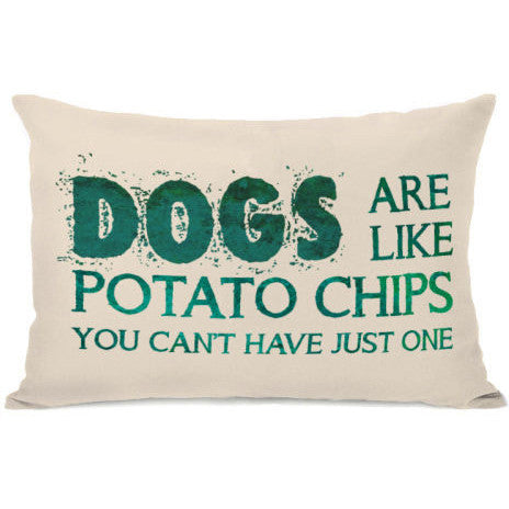"""Dogs Are Like Potato Chips"" Outdoor Throw Pillow by OneBellaCasa, 14""x20"""