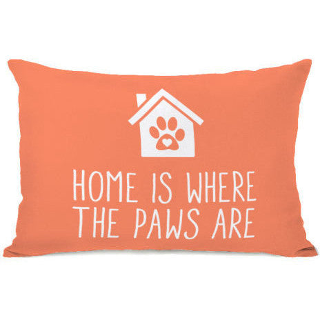 """Home Is Where The Paws Are"" Outdoor Throw Pillow by OneBellaCasa, 14""x20"""