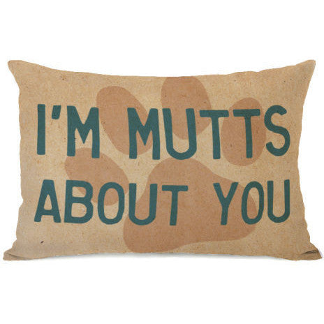 """I'm Mutts About You"" Outdoor Throw Pillow by OneBellaCasa, 14""x20"""
