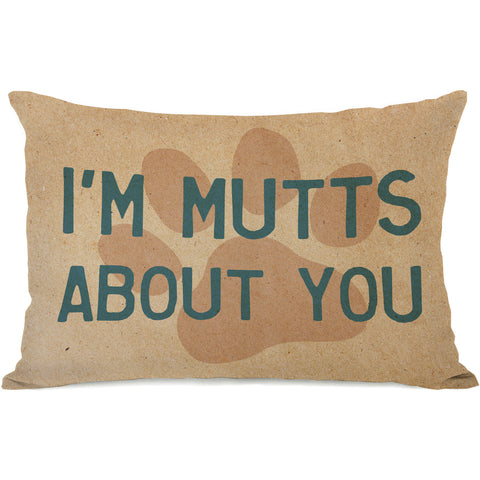 """I'm Mutts About You"" Indoor Throw Pillow by OneBellaCasa, 14""x20"""