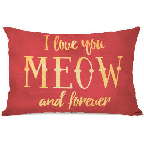 """Meow And Forever"" Outdoor Throw Pillow by OneBellaCasa, 14""x20"""