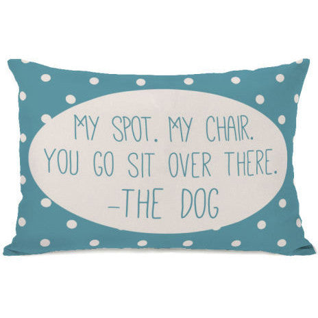 """My Spot My Chair"" Outdoor Throw Pillow by OneBellaCasa, 14""x20"""
