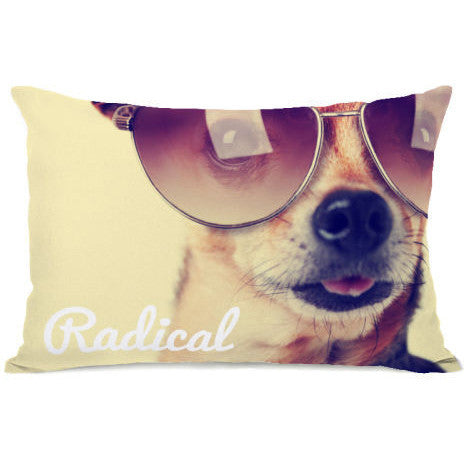 """Radical Pup"" Outdoor Throw Pillow by OneBellaCasa, 14""x20"""