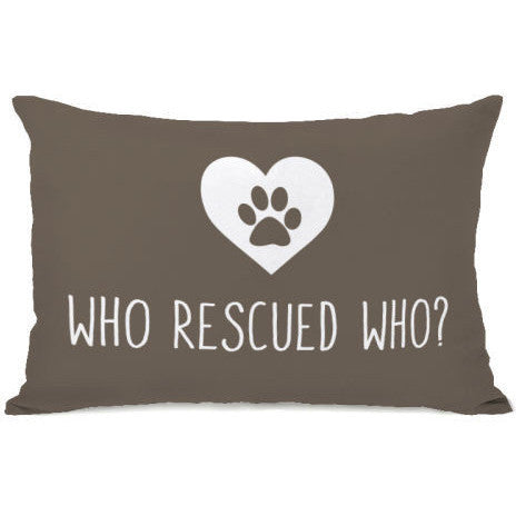 """Who Rescued Who?"" Outdoor Throw Pillow by OneBellaCasa, 14""x20"""