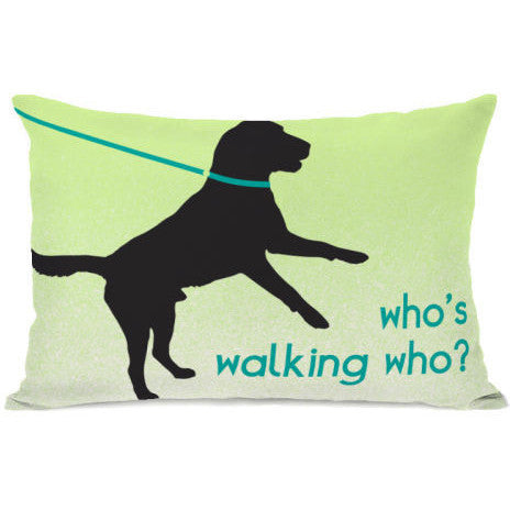 """Who's Walking Who?"" Outdoor Throw Pillow by OneBellaCasa, 14""x20"""
