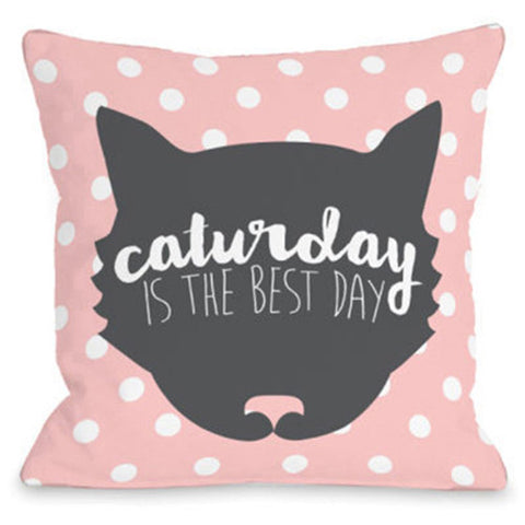 """Caturday Is The Best Day"" Outdoor Throw Pillow by OneBellaCasa, 16""x16"""