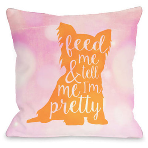 """Tell Me I'm Pretty"" Outdoor Throw Pillow by OneBellaCasa, Orange, 16""x16"""