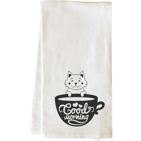 """Good Morning Cat"" Tea Towel by OneBellaCasa"