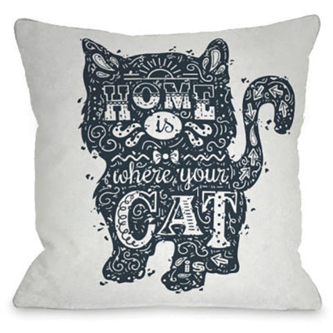 """Home Is Where The Cat Is"" Outdoor Throw Pillow by OneBellaCasa, 16""x16"""
