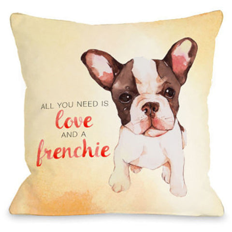 """Love And A Frenchie"" Outdoor Throw Pillow by OneBellaCasa, 16""x16"""