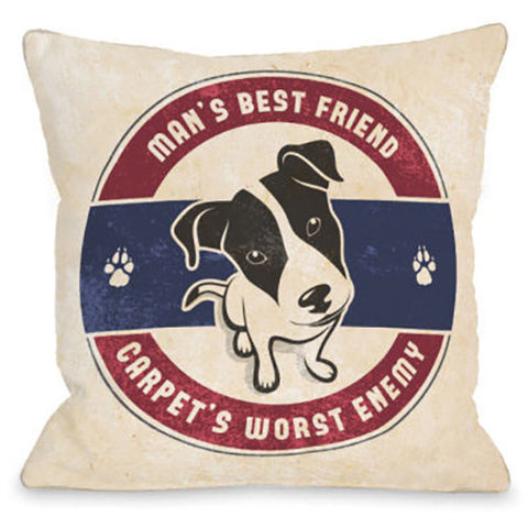 """Carpets Worst Enemy"" Outdoor Throw Pillow by OneBellaCasa, 16""x16"""
