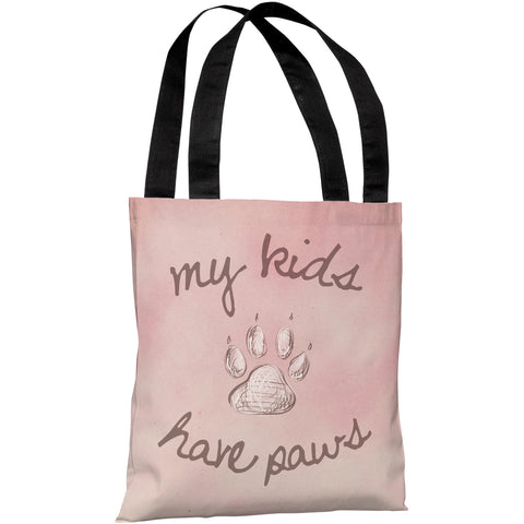 """My Kids Have Paws"" 18""x18"" Tote Bag by OneBellaCasa"