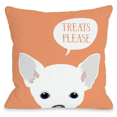 """Peeking Chihuahua"" Outdoor Throw Pillow by OneBellaCasa, 16""x16"""
