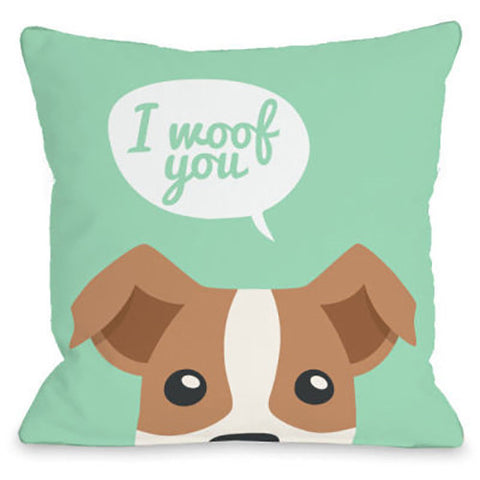 """Peeking Terrier"" Outdoor Throw Pillow by OneBellaCasa, 16""x16"""