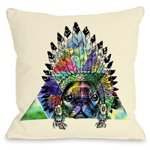 """Pug Headdress"" Outdoor Throw Pillow by OneBellaCasa, 16""x16"""
