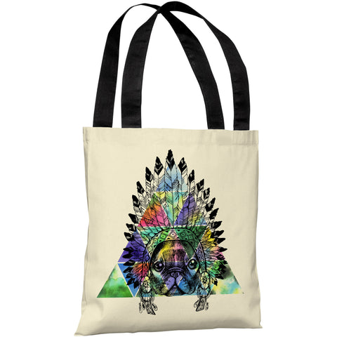 """Pug Headdress"" 18""x18"" Tote Bag by OneBellaCasa"