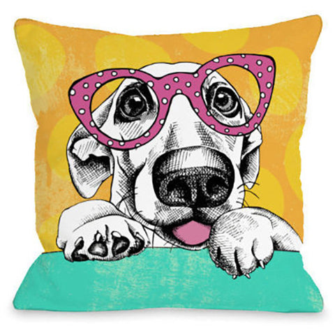 """Wacky Pup"" Outdoor Throw Pillow by OneBellaCasa, 16""x16"""