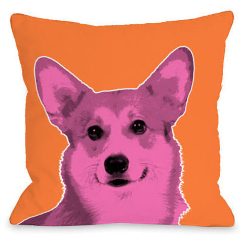 """Whisker Dogs Corgi"" Outdoor Throw Pillow by OneBellaCasa, 16""x16"""