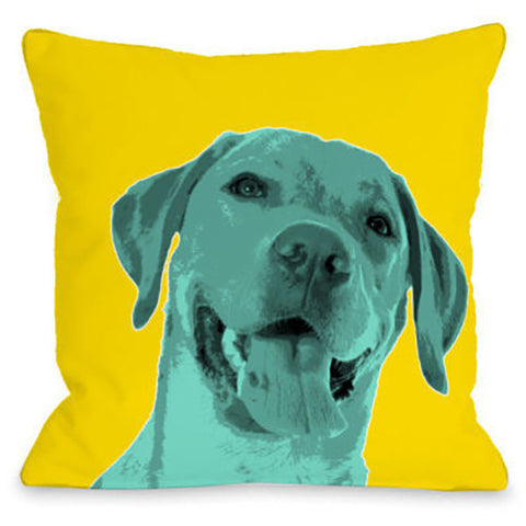 """Whisker Dogs Labrador Retriever"" Outdoor Throw Pillow by OneBellaCasa, 16""x16"""