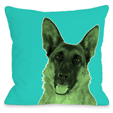 """Whisker Dogs German Shephard"" Outdoor Throw Pillow by OneBellaCasa, 16""x16"""