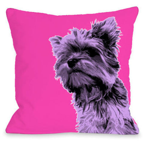 """Whisker Dogs Yorkshire Terrier"" Outdoor Throw Pillow by OneBellaCasa, 16""x16"""