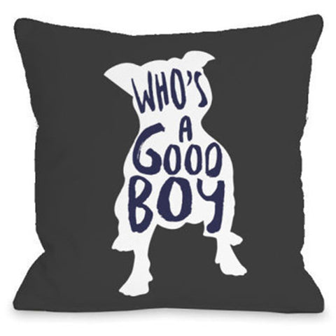 """Who's A Good Boy"" Outdoor Throw Pillow by OneBellaCasa, 16""x16"""