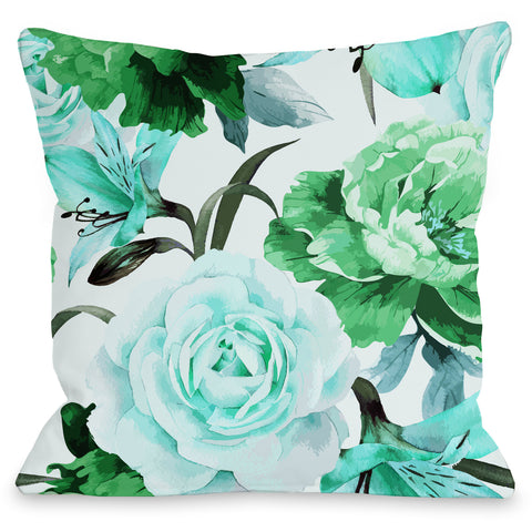 """A Floral Afternoon"" Outdoor Throw Pillow by OneBellaCasa, Lime, 16""x16"""