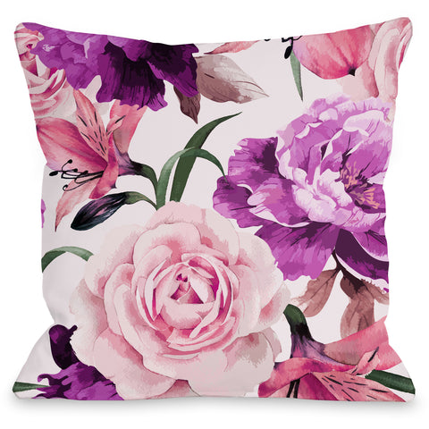 """A Floral Afternoon"" Indoor Throw Pillow by OneBellaCasa, Lime, 16""x16"""