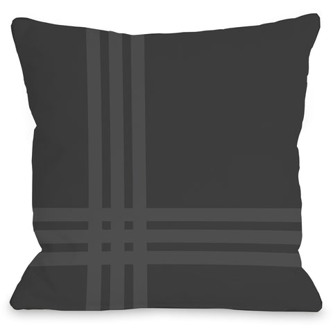 """Plaid Pop"" Outdoor Throw Pillow by OneBellaCasa, Charcoal, 16""x16"""