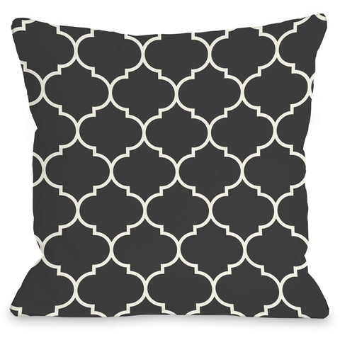 """Repeating Moroccan"" Outdoor Throw Pillow by OneBellaCasa, Charcoal, 16""x16"""