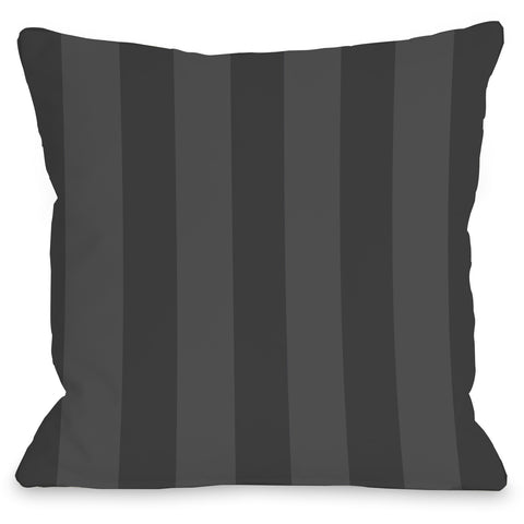 """Stripey"" Outdoor Throw Pillow by OneBellaCasa, Charcoal, 16""x16"""