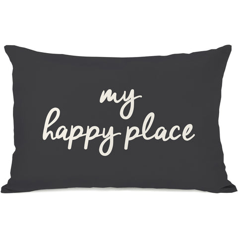 """My Happy Place"" Outdoor Throw Pillow by OneBellaCasa, Charcoal, 14""x20"""