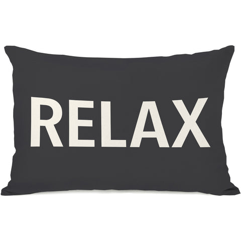 """Relax"" Indoor Throw Pillow by OneBellaCasa, Charcoal, 14""x20"""