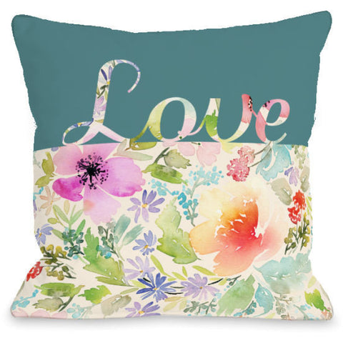 """Floral Love"" Indoor Throw Pillow by OneBellaCasa, 16""x16"""