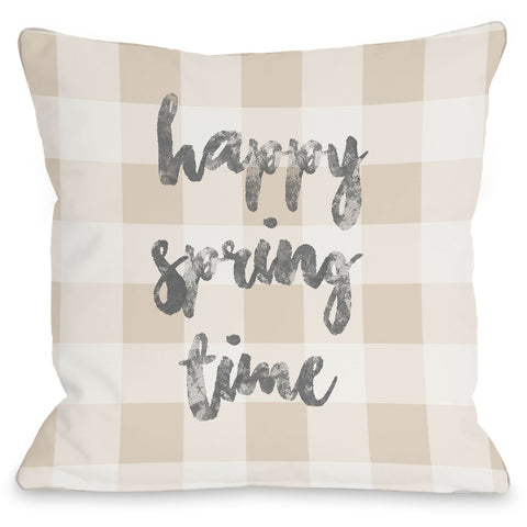 """Happy Spring Time"" Indoor Throw Pillow by OneBellaCasa, 16""x16"""