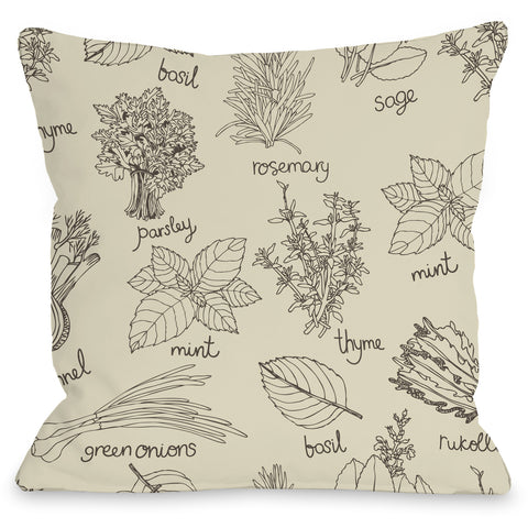 """Herb Collage"" Outdoor Throw Pillow by OneBellaCasa, 16""x16"""
