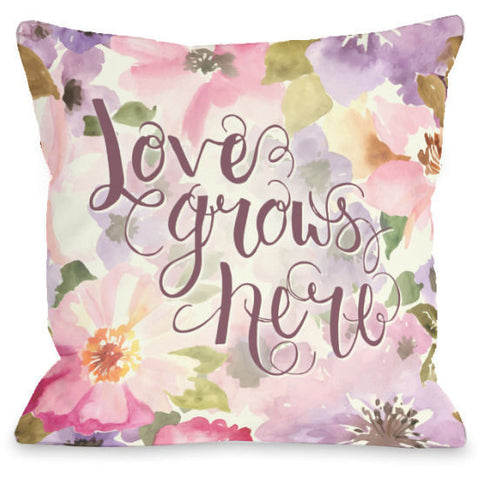 """Love Grows Here"" Indoor Throw Pillow by OneBellaCasa, 16""x16"""