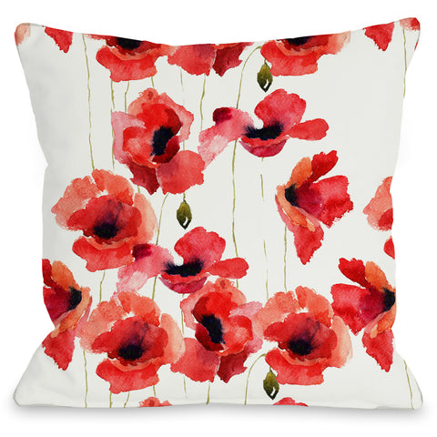 """Poppy Field"" Outdoor Throw Pillow by OneBellaCasa, 16""x16"""