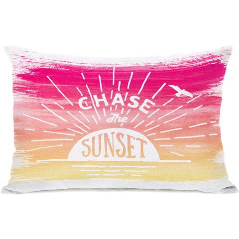 """Chase The Sunset"" Outdoor Throw Pillow by OneBellaCasa, 14""x20"""