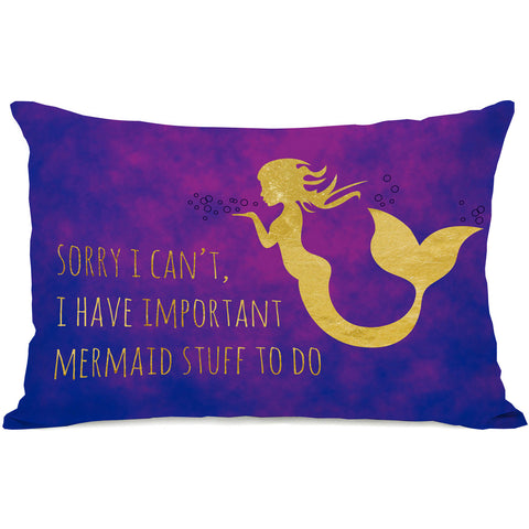 """Important Mermaid Stuff"" Indoor Throw Pillow by OneBellaCasa, 14""x20"""